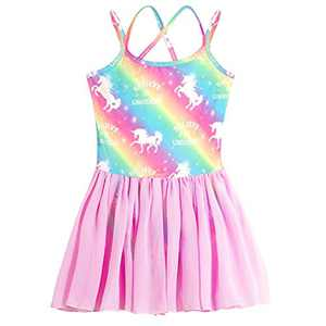 Sylfairy Toddler/Girls Dance Skirts Camisole Leotard with Cute Tutu Dress for Dance Gymnastics and Ballet Unicorn Rainbow (Multicolor, 7-8 Years)