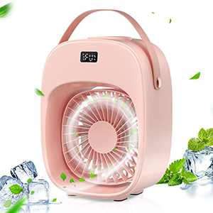 BNT Portable Air Conditioner, Evaporative Air Conditioner Fan, 3 Wind Speeds & 2 Misting Levels, Humidifier, Night Light, Rechargeable Battery, Personal Air Cooler Fan for Home/Office/Outdoor, Pink