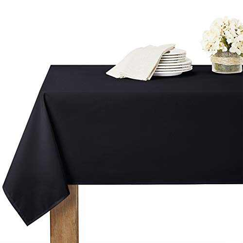 RYB HOME Outdoor Tablecloth Waterproof - Rectangle Table Liners for 8 Foot Table Cloth for Banquet Buffet Dining Trade Show Catering Tablecloths, 60 x 102 inches, Black