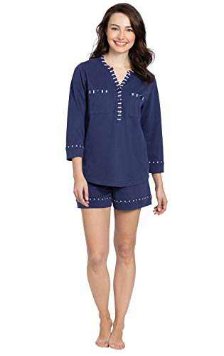 Addison Meadow Pajama Shorts for Women - Womens Summer PJs, Navy, Small / 4-6