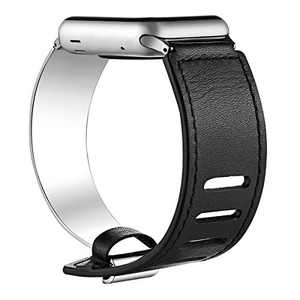 fastgo Compatible for Apple Watch Bands 38mm 40mm 42mm 44mm, Leather Stainless Steel Cuff Bracelet Strap Compatible for Iwatch Series 4 3 2 1 Women Girl Female Adjustable (38mm/40mm, Silver)