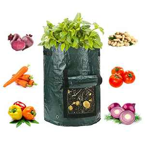 Potato Grow Bags, 4-Pack Garden Vegetable Grow Bags with Access Flap and Handles, Indoor Outdoor Waterproof Breathable Felt Plant Planter For Vegetables, Potato, Carrot, Onion, Tomato, Flower and Herb