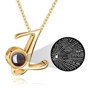 M MOOHAM Initial Necklace for Women Gift - 26 A-Z Initial Letters Necklace Jewelry Personalized 100 Languages I Love U Pendant Necklace Best Gifts for Women Girl Mother's Day Birthday Parties