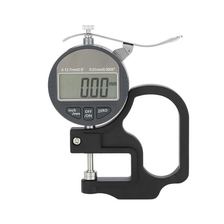 Digital Thickness Gauge Lcd Display Paper Leather Cloth Sponge Wire Measurement Tool 0-12.7Mm Measuring Range, 0.01Mm Accuracy