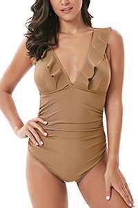 Soyml Women's One Piece Swimsuit Ruffle Solid Monokinis Tummy Control Swimwear with Criss Cross Tie Back Bathing Suits