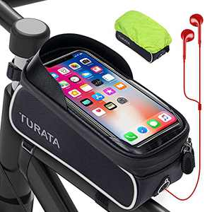 TURATA Bike Bag, Waterproof Bike Phone Bag Bike Phone Holder, Handlebar Bag with Sensitive Touch Screen, Cycling Accessories for iPhone 11 XS Max XR Samsung Below 6.5 Inch