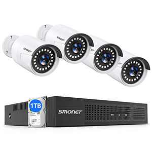 【2021 NEW AUDIO】SMONET 5MP PoE Home Security Camera System 1TB Hard Drive,8 Channel NVR Complete Surveillance Systems,4pcs 5MP(2560TVL) Indoor Outdoor Wired CCTV IP Cameras,24/7 Recording,Night Vision