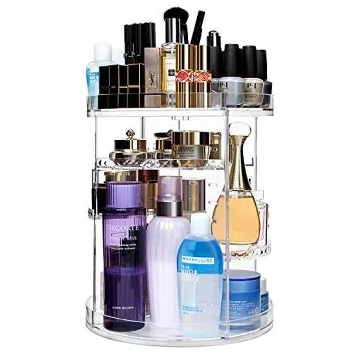 CECOLIC Makeup Organiser 360 Degree Rotating Cosmetic Organiser Clear Acrylic Adjustable Makeup Storage Organisers Fits Makeup Brushes, Cosmetics, Skincares, Lipsticks and More