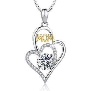 T400 925 Sterling Silver Golden Love You Mom Cubic Zirconia Pendant Necklace Birthday Gift for Mother Women