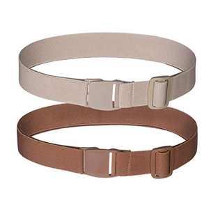 AWAYTR Invisible Elastic Belt for Women - No Show Web Womens Belts, 2 Pieces (Brown/Khaki)
