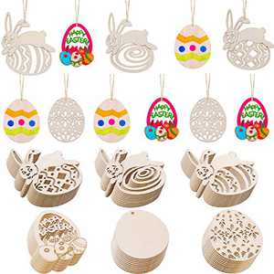 Chuangdi 60 Pieces Easter Wooden Embellishments Egg and Bunny Shape Hanging Ornaments with Twine for Easter Party Decorations (Style Set 1, Medium Size)