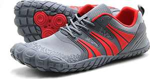 Oranginer Men's Cross Training Shoes Lightweight Five Fingers Barefoot Shoes for Walking Running Gray/Red Size 8.5