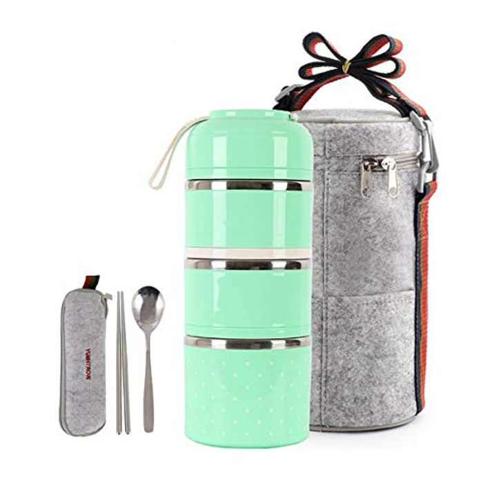 HOMESPON Lunch Box with Insulated Lunch Bag Bento Box Stackable Stainless Steel Lunch Storage Containers with Spoon for Kids School and Adults Office (Green, 3-Tiers)