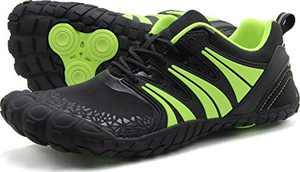 Oranginer Men's Barefoot Shoes Big Toe Box Minimalist Trail Running Shoes for Men Black/Green Size 6.5