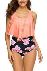 Women High Waisted Swimsuit Flounce Swimwear Racerback Vintage Two Piece Bikini(Orange Flower,XXL)