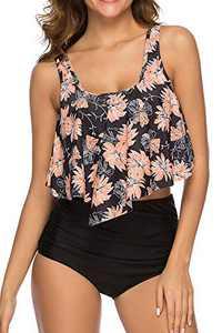 Women High Waisted Swimsuit Flounce Swimwear Racerback Vintage Two Piece Bikini(Black Flower,XXL)