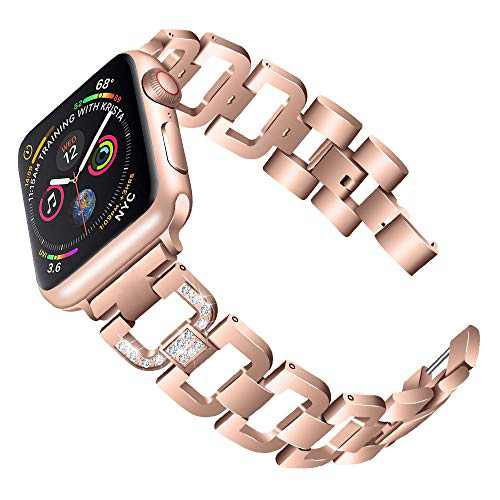 PUGO TOP Compatible with Apple Watch Band 44mm Series 6 5 4 Iwatch Band Wristband Strap Iphone Watch Band Stainless Steel Metal with Bling Rhinestones for Women(42mm/44mm, Series 5/4 Aluminum Case Gold)