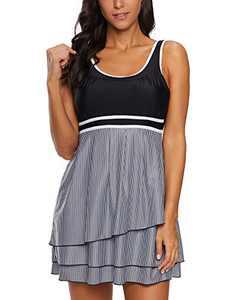 Slivery Color Women's Plus Size Swimdress Tankini Set Swimwear Swimdress Tummy Control Swimsuits Bathing Suits for Women