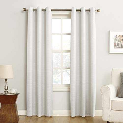 "Sun Zero Cooper Thermal Insulated Room Darkening Grommet Curtain Panel, 40"" x 63"", White"