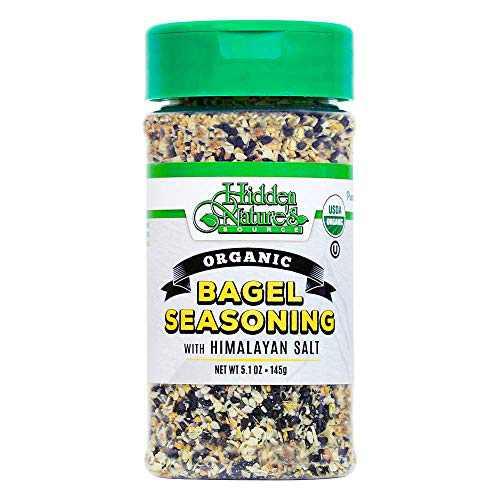 Organic Everything Bagel Seasoning Blend: Himalayan Sea Salt Sesame & Dried Poppy Seeds - Kosher Toppings and Spices with Seasonings of Garlic & Onion (Bottle 5.1oz)