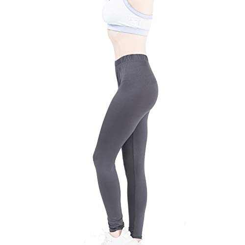 Sheebo Womens Ultra Soft Full Length Lightweight Classic Leggings (Gray, Small/Medium)