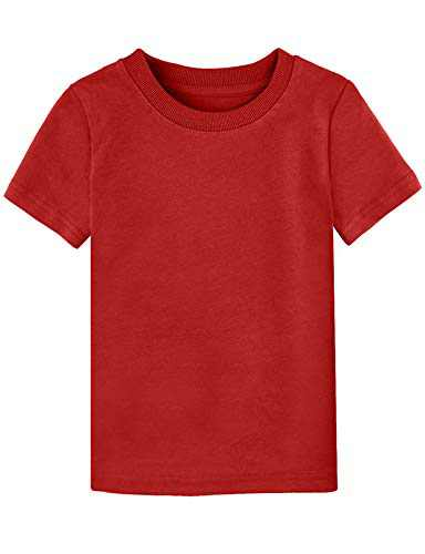 A&J DESIGN Toddler Casual Solid Color Tshirt (Red, 4T)