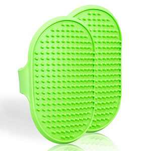Lillian Ruff Dog Bath Brush - 2 Pack of Flexible Rubber Dog Shower Brush with Adjustable Strap - Soothing Massage Bristles Produce More Lather, Reduce Bath Time, Remove More Dirt & Loose Hair (Green)