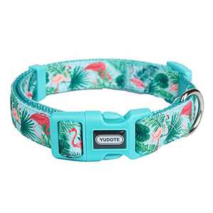 """Designer Nylon Dog Collar Spring Flamingo Pattern Printing on Premium Ribbon,Comfy and Durable Collar for Puppies or Heavy Duty Dogs,Flamingo,Neck 12""""-18"""""""