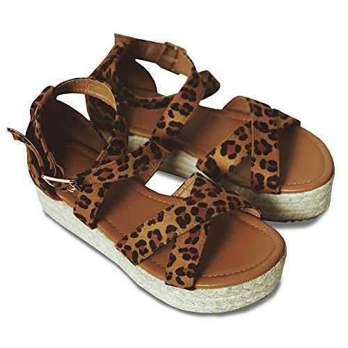 Coutgo Womens Platform Espadrille Sandals Flat Strappy Open Toe Ankle Strap Flatform Sandals