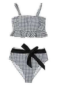 CUPSHE Women's Black White Gingham Swimsuit Ruffles Two Piece Bikini Set, S