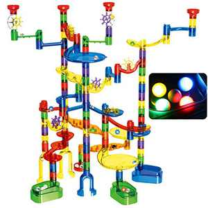 Magicfly Marble Run Set, 149 Pcs Marble Race Track Super Set for Kids 3+, (4 Light up Marbles+ 107 Pcs Translucent Marbulous+ 6 Glass Marbles+ 32 Pcs DIY Marbles) STEM Learning Toys for Boys and Girls