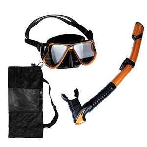 Snorkeling Snorkel Package Set Anti-Fog Dry Snorkel Set Anti-Leak Snorkel Gear Panoramic View Snorkel Mask Adjustable Strap Snorkeling Gear for Adults Kids Impact Resistant Glass Goggle Diving Mask