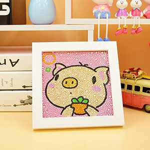MYSNKU Diamond Painting for Kids Full Drill Painting by Number Kits Arts Crafts Shimmer and Shine Sparkle Mosaics Sticker for Home Wall Decor Gifts for Christmas Birthday -Include Wooden Frame(Pig)