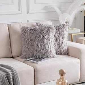 Home Brilliant 2 Packs Decorative New Luxury Series Throw Pillow Case Merino Faux Fur Fuzzy Pillows Accent Cushion Covers 20 x 20 Inch 50cm x 50cm, Light Grey