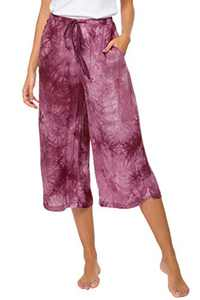 Urban CoCo Womens Comfy Solid Tie-Dye 3/4 Lounge Pants (M, Wine Red)