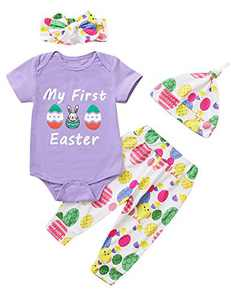 Shalofer Baby Girls My First Easter Bodysuit Outfit Newborn 1st Easter Day Clothing Set (Purple,12-18 Month )