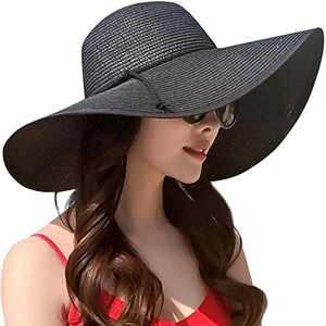 JOYEBUY Women Big Bowknot Straw Hat Floppy Foldable Roll up UV Protection Beach Cap Sun Hat (Style B-Black)