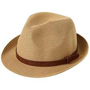 Lanzom Men Women Fedora Straw Sun Hat Foldable Roll Up Short Brim Trilby Hat Summer Beach Hat (B-Khaki,Medium)