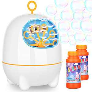 BATTOP Bubble Machine for Kids and Toddlers Automatic Bubble Maker Blower with Bubbles Solutions and 2 Bubbles Blowing Speed Levels for Parties Outdoor Indoor Easy to Use 2 AA Batteries Needed