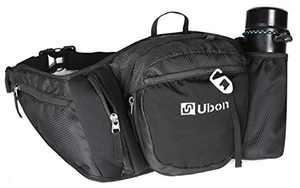 Ubon Plus Size Fanny Pack Large Phanny Pack with Water Bottle Holder Neoprene Glass Pocket Black