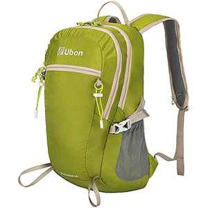 Ubon 25L Lightweight Hiking Backpack Anti-theft Commuting Backpack Ventilated Water Resistant Pack Fits Men Women Kids Green