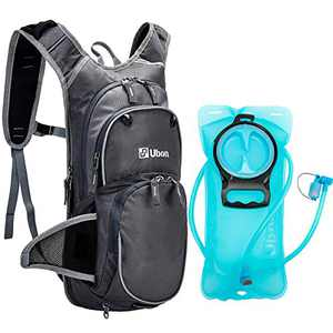 Ubon Hydration Pack Backpack with 2L BPA Free Water Bladder,Lightweight Daypack Water Backpack 10L for Hiking,Cycling, Camping,Running Fits Men,Women,Kids - Gray