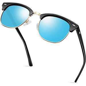 KANASTAL Semi Rimless Polarized Sunglasses for Women Men, Unisex Sunglasses with Half Frame - Blue Mirrored Lens