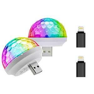 USB Mini Stage DJ Light Disco Ball Lamp Home Pajama Party Strobe Light Disco LED Bulb for Birthday Gift Club Wedding Celebration Karaoke Xmas Decorations (Multi Color-2 Apple Adapter)
