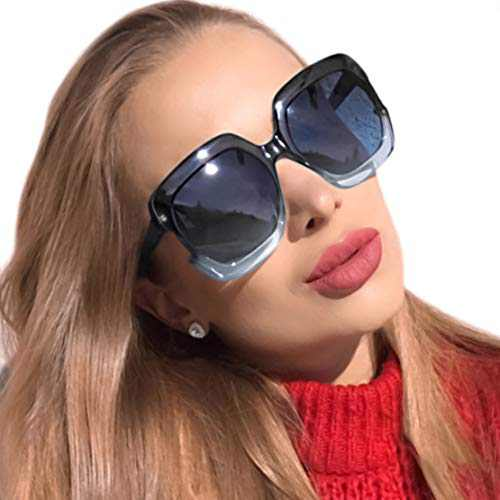 MuJaJa Square Oversized Polarized Sunglasses for Women UV Protection, Classic Vintage Big Fashion Frame Ladies Shades(Blue with Gradient Grey)