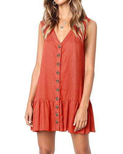 Beautife Womens Button Down V Neck Sleeveless Loose Swing Casual Mini T Shirt Dress Brick Red