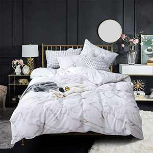 Wellboo Black and White Bedding Sets White Marble Texture Duvet Cover Queen Cotton Women Adult Teens Quilt Cover Black Lines Modern Abstract Bedding Full Luxury Duvet Covers Soft Health No Insert
