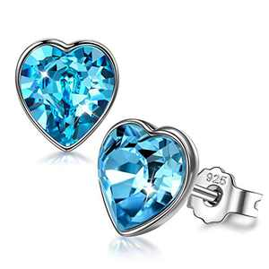 ANGEL NINA Valentines Day Gifts for Kids Earrings for Women Sterling Silver Earrings for Girls Heart Crystal Earrings Studs Hypoallergenic Earrings for Mom Birthday Gifts for Girlfriend
