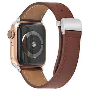 hooroor Leather Bands Compatible Apple Watch Band 38mm 40mm 42mm 44mm Replacement Strap for iWatch Series 6, SE,Series 5, Series 4,Series 3,Series 2,Series 1,Sport, Edition Womens Mens(Brown,38/40mm)