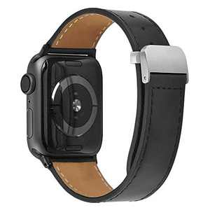 hooroor Leather Bands Compatible Apple Watch Band 38mm 40mm 42mm 44mm Replacement Strap for iWatch Series 6, SE,Series 5, Series 4,Series 3,Series 2,Series 1,Sport, Edition Womens Mens(Black,38/40mm)